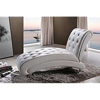 Baxton Studio Pease Contemporary Faux Leather Upholstered Crystal Button Tufted Chaise Lounge White  sc 1 st  Amazon.com : chaise loung - Sectionals, Sofas & Couches