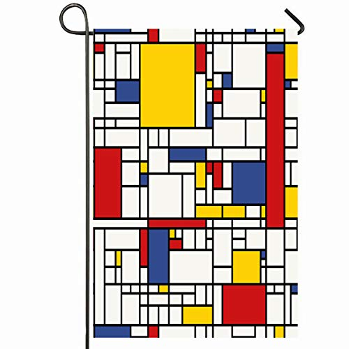 Ahawoso Outdoor Garden Flag 12x18 Inches Yellow Abstract Mosaic Pattern Piet Mondrian Red Geometric Line Modern Black White Design Seasonal Home Decorative House Yard Sign -