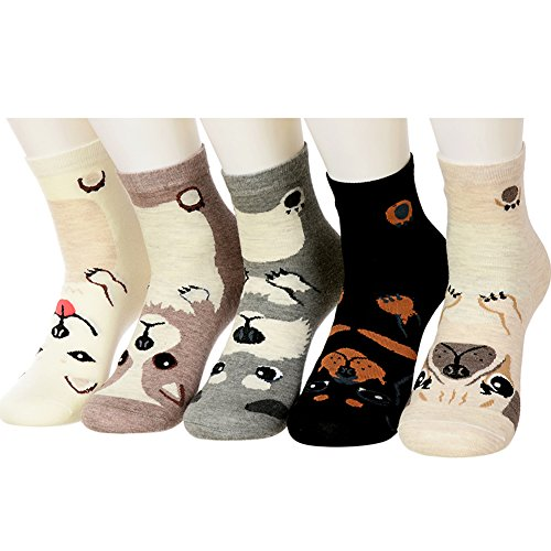 Yantu 5 Pairs Women's Warm Christmas Holiday Casual Socks, Fun Crazy Dog Print Crew Socks,Multi-colors,One Size (Print Holiday Socks)