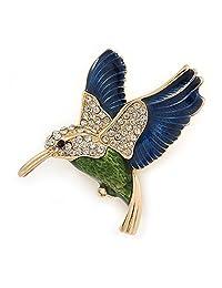 Multicoloured Crystal Hummingbird Brooch In Gold Plated Metal - 40mm