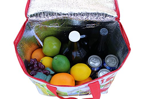 Earthwise Insulated Reusable Grocery Bag Shopping Tote with Zipper Top Lid Fruit Splash Print Thermal for Frozen or Hot Food Carrier Collapsible (Pack of 2) by Earthwise (Image #3)