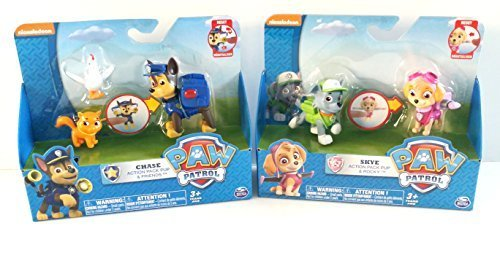 Bundle - 2 items: Exclusive Paw Patrol Chase Action Pack Pup & Friends and Skye Action Pack Pup & Rocky Action Figures