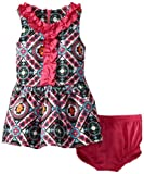 Hartstrings Baby Girls' Printed Cotton Sleeveless Dress And Diaper Cover Set