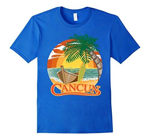 Mens Cancun Mexico Beach Palm Tree T Shirt Party Destination Gift Large Royal Blue