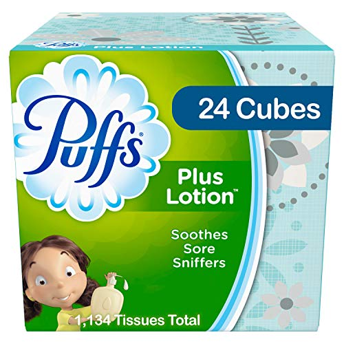 Puffs Plus Lotion Facial Tissues, 24 Cube Boxes, 56 Tissues per Box