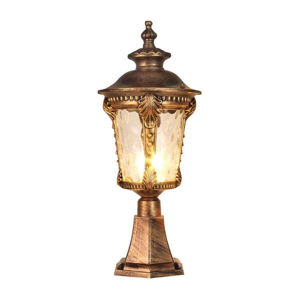 Lampada da esterno retrò europea in vetro lampada da cortile impermeabile lampada da giardino lanterna per magazzino lampada da parete testa recinzione colonna testa E27 (Colore   Bronze-H-65cm)