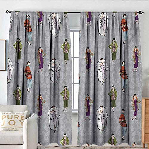 Blackout Valances for Girls Bedroom Retro,Flapper Girls 20s Style Pattern Retro Womens Fashion Party Theme Floral Background,Multicolor,Rod Pocket Curtains for Big Windows 60