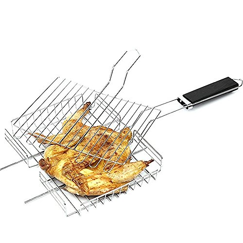 Noza Tec Stainless Grilling Basket Nonstick Fish Grill Baskets Folding for Roast BBQ Barbecue with Wood Handle (Seafood Grill Basket compare prices)