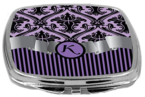 - Rikki Knight Compact Mirror, Letter k Initial Purple Damask and Stripes