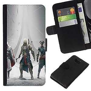 Samsung ALPHA G850 - Dibujo PU billetera de cuero Funda Case Caso de la piel de la bolsa protectora Para (Assassins Gathering)