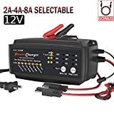 12V 2/4/8A Battery Charger Multi Amp Maintainer Auto Trickle Float Deep Cycle 7 Steps Charging for Motorcycle Lawn Mower Automotive Boat RV SLA ATV AGM Gel cell Lead Acid Batteries