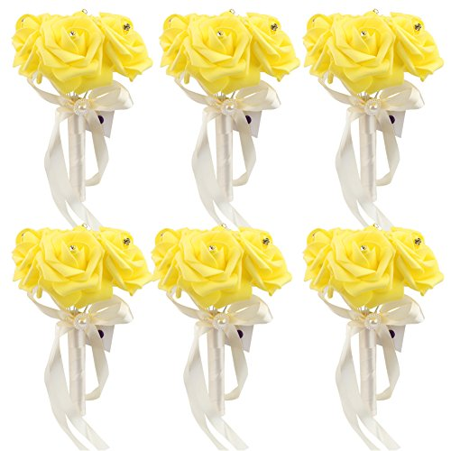 AerWo 6 Bunch of Bouquet, Yellow Foam Roses Silk Ribbon Bouquet Handmade Rhinestone Diamante Artificial Flower Bridal Bridesmaid Brooch Wedding Bouquet Decoration (Bouquet Rose Yellow)