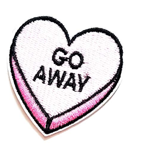 2'' X 2'' Beautiful Pink Heart Alphabet Go Away Cartoon Kids Patch Logo Jacket t-Shirt Jeans Polo Patch Iron on Embroidered Logo Sign Badge Comics Cartoon Patch by Tour les jours Shop
