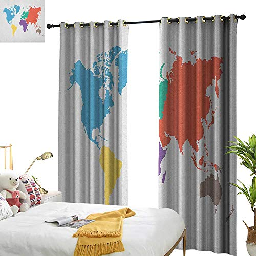 longbuyer Map Customized Curtains Continents of The World in Regions Lands Global International Theme W72 x L108,Suitable for Bedroom Living Room Study, etc.