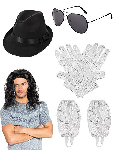 Sequin Gloves Glittery Socks Black Fedora Hat Wig with Sunglasses for Michael Jackson Costume ()