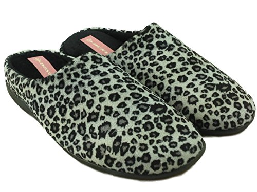 Shoe Slip 8 Warm Dunlop Carmen Ladies 3 Mules Slippers Leopard Size Fleece Print On Winter IP6IwqC