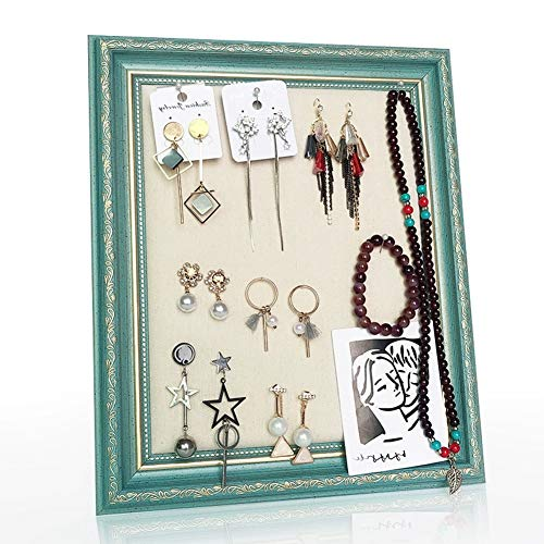 - Yafeco Photo Frame Earring Organizer Holder, Wooden Flannelette Jewelry Display Shelf for Girls Women, Jewelry Hanger for Earrings, Necklace, Rings
