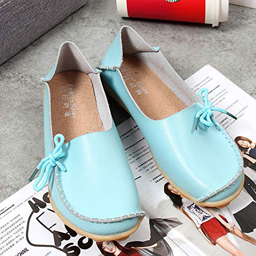Casual Flat Comfort Loafers Women's Blue Oxfords Breathable Shoes Women Slip On Moccasins Leather Driving Shoes Coach Loafers E0Ewqv
