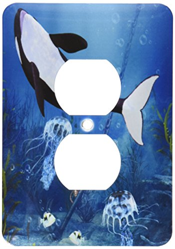 3dRose lsp_172250_6 Underwater Scene with Orca Fishes and Jellyfish Light Switch Cover
