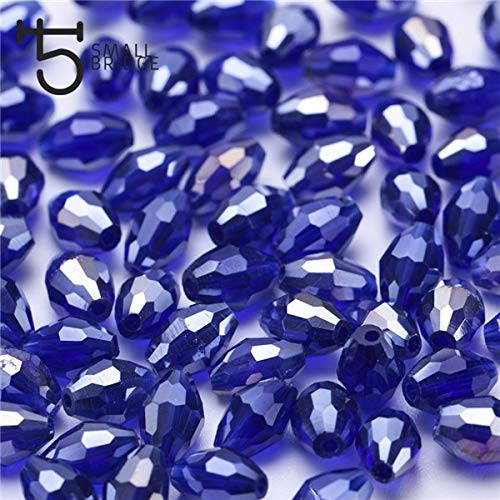 Pukido 46mm Czech Mix Color Oval Glass Beads for Jewelry Making DIY Accessories Small Loose Faceted Crystal Rice Beads Y101 - (Color: Y109ab, Item Diameter: 4x6 mm 70pcs)