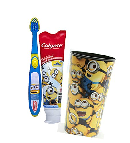 """Despicable Me """"Minions"""" Inspired 3pc Bright Smile Oral Hygiene Set! (1) Minion Soft Manual Toothbrush & (1) Colgate Minions Mild Bubble Fruit Toothpaste! Plus Bonus Minions Mouth Wash Rinse Cup!"""