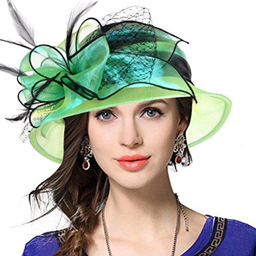 Lady Derby Dress Church Cloche Hat Bow Bucket Wedding Bowler Hats (Two-tone-Green)