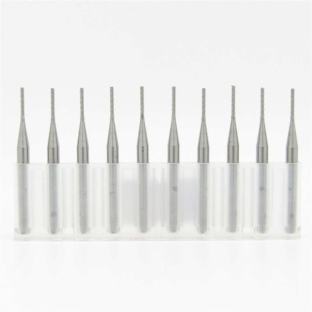 JIUWU 1.0mm Tungsten Steel Carbide PCB CNC End Mill Engraving Bits Milling Machine Pack of 10