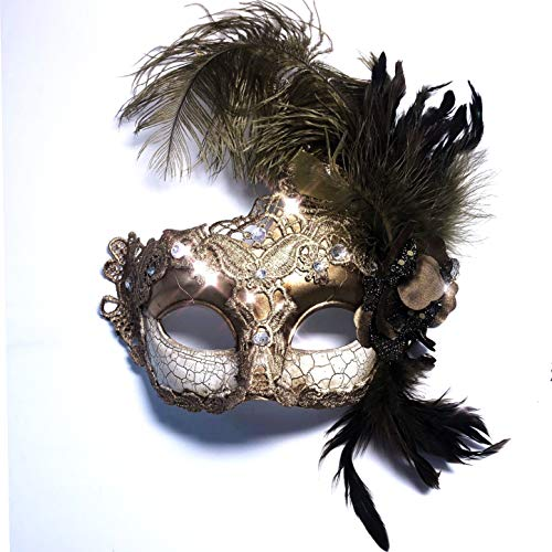Storm Buy] Women Lady Girls Costume Venetian mask Feather Masquerade Mask Halloween Mardi Gras Cosplay Party Masque (Class Gold)
