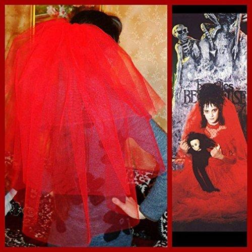 Halloween party Veil 3-tier red, Halloween costume idea. Lydia Deetz halloween costume veil. Bachelorette veil, long length. Halloween (Lydia Beetlejuice Halloween Costume)