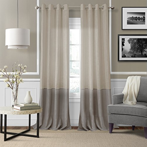 Elrene Home Fashions Melody Sheer Window Panel 52-Inch by 84-Inch, Linen (Neutral Curtains)