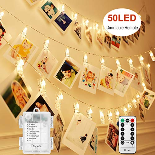 Decute Upgraded 50LED Dimmable Photo Clips Lights String Holder with Remote, Timer 8 Modes Fairy Starry Lights for Christmas Card Bedroom Wedding Party Hanging Photos Pictures Memos,Warm White (Light Ideas Bedroom For String)