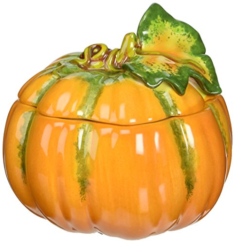 Cosmos 10363 Fine Porcelain Lift off Lid Small Pumpkin Box, (Pumpkin Orange Ceramic)