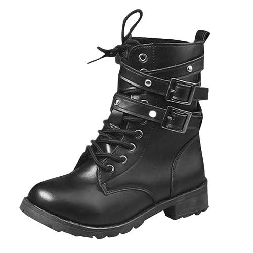 6498a44d0 Logobeing Botas de Cuero Botas Planas para Mujer con Punta Redonda y  Hebilla de Correa Zapatos