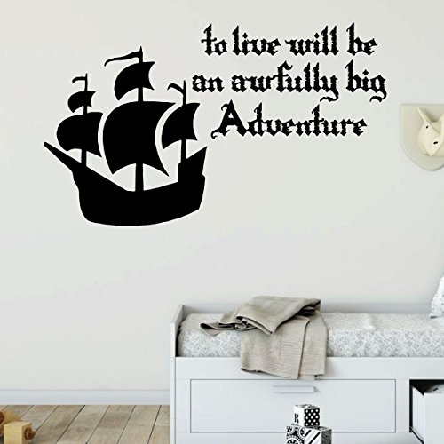 Boys Buccaneer Bones Pirate - Pirate Ship Wall Decal - Awfully Big Adventure - Vinyl Decor for Boys Room, Playroom or Nursery