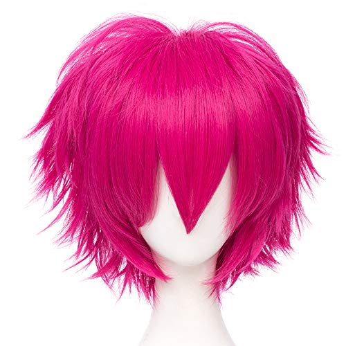 Max Beauty Unisex Anime Short Cosplay Short Wigs With Bangs Heat Resistant Hair for Party and Halloween for Gift + Free Cap (Rose)