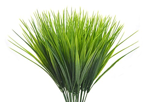 4pcs Artificial Plants, Faux Plastic Wheat Grass Fake Leaves Shrubs Simulation Greenery Artificial Flowers Bushes Garden Floor Office Wedding Home Party (Plastic Artificial Grass Plant)