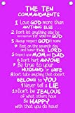 The Ten Commandments for Kids - Wall Quotes Canvas Banner - In Pink - 12'' Wide By 18'' High