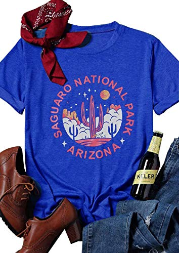 Womens Arizona Saguaro T-Shirt National Park Cactus Cute Graphic Tee Short Sleeve Funny Letter Print Blouse Top Size M - National Letter