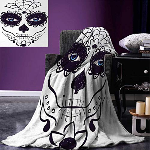 Anniutwo Day The Dead King Flannel Blanket Dia de Los Muertos Sugar Skull Girl Face Mask Make up Print Weave Pattern Extra Long Blanket 90