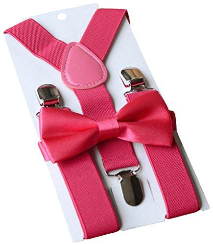 UDRES Unisex Kid Boys Girls Adjustable Bow tie & Suspender Sets (One Size, Rose Red)