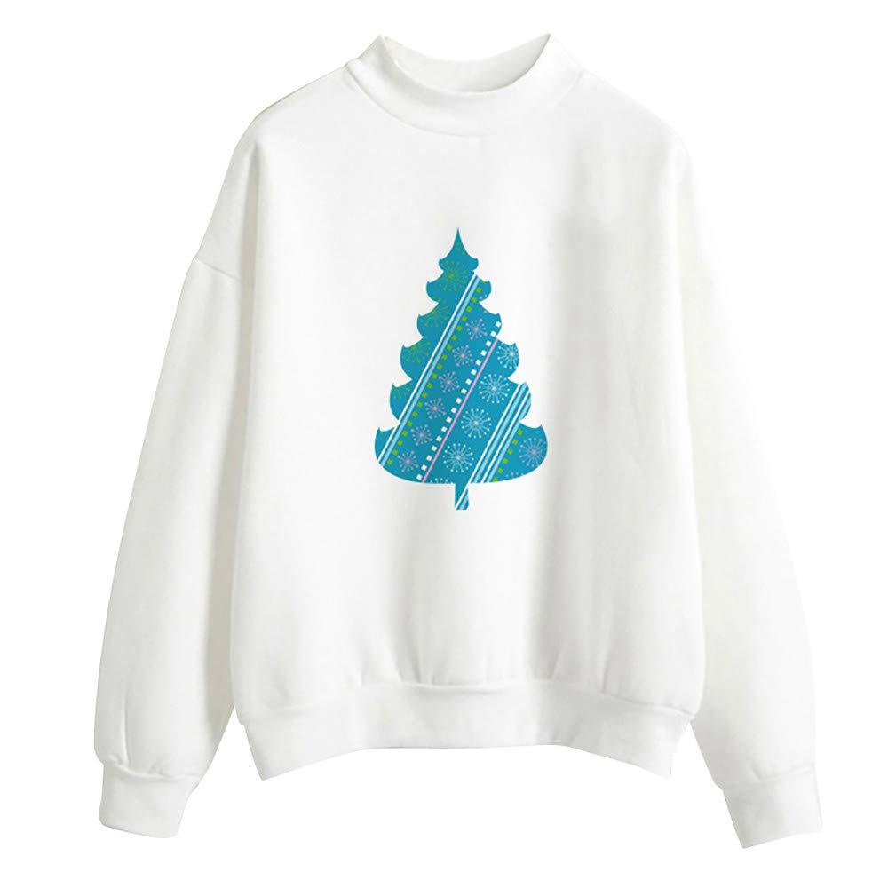 Briskorry Weihnachtspullover Damen Winter Warm Strickpullover Sweatshirt Frauen Beilä ufig Weihnachtsmann Drucken Sweater Bluse Tops