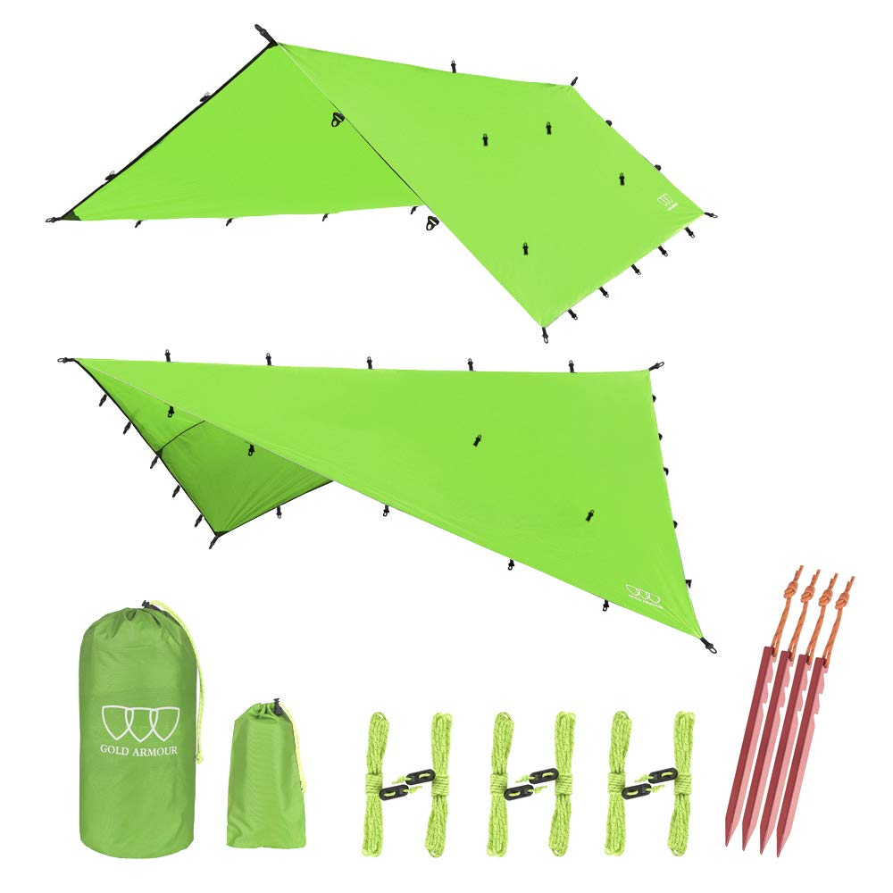 12ft Extra Large Tarp Hammock Waterproof Rain Fly Tarp 185in Centerline - Lightweight Ripstop Fabric - Stakes Included - Survival Gear Backpacking Camping Accessories - Multiple Colors (Green) by Gold Armour