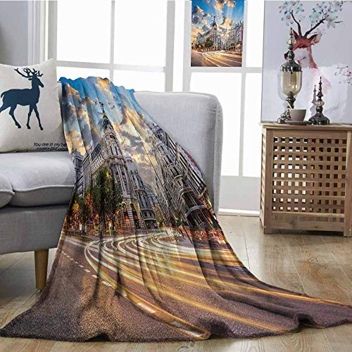 Zmcongz Sofa Blanket European Cityscape Decor Collection View of The Streets Modern Madrid with Sky Landscape Big Old Town Heritage Deco Super Soft and Warm, Durabl W70 xL93 Multi