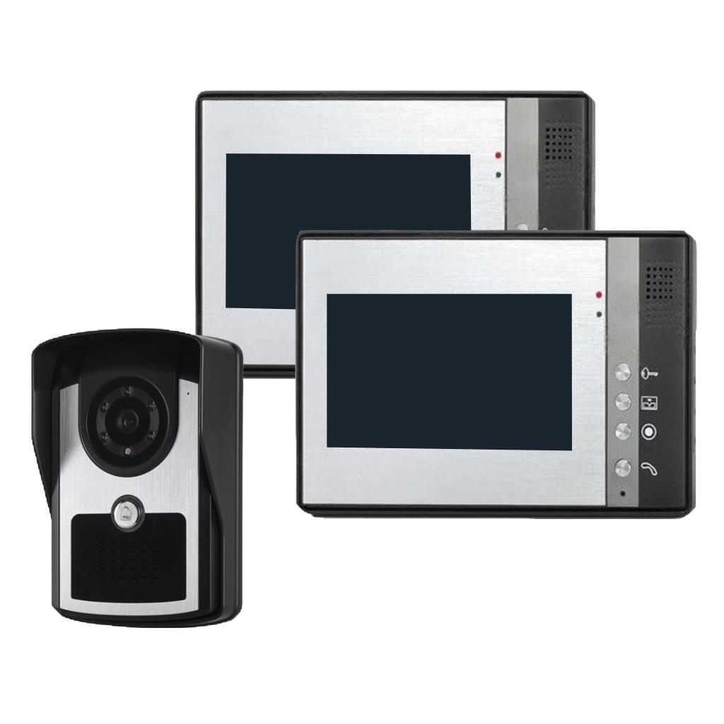 MonkeyJack 7 inch Color LCD Wired Video Door Phone Doorbell Home Entry Intercom System Kit 2 Monitor 1 Camera Night Vision