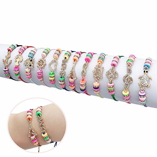 Elesa Miracle 12Pc Women Girl Rhinestone Woven Friendship Bracelet Value Set Kids Party Favor Adjustable Bracelet
