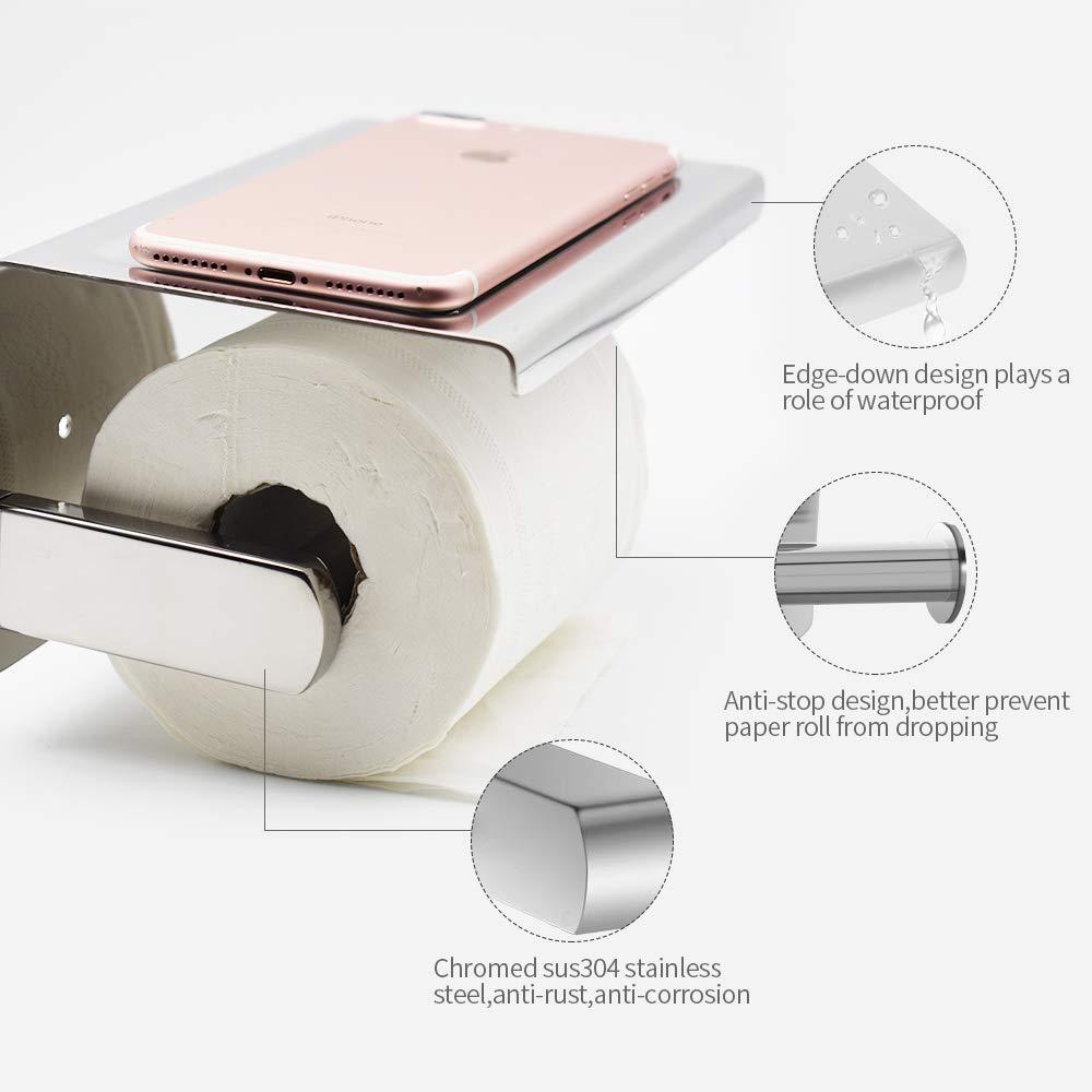 Porta Carta Igienica Portarotolo Acciaio Inox 304 Installazione Senza Foratura Con Adesivo o Fori Superficie Brillante Porta rotolo Con Porta Cellulare