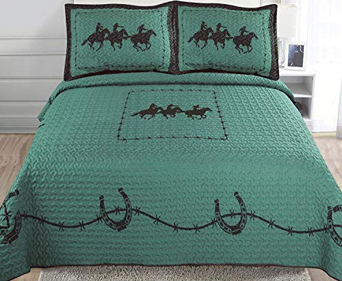 3-piece Printed Turquoise Brown Chocolate Western Lone Star Barb Wire, Shoe Horse Cabin / Lodge Quilt Bedspread Coverlet Set (King/ Calking, Three Horse-Turquoise)