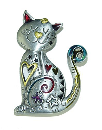 Cat Brooch - Spoontiques Smiling CAT Kitten Pewter PIN with Color Enamel Accents
