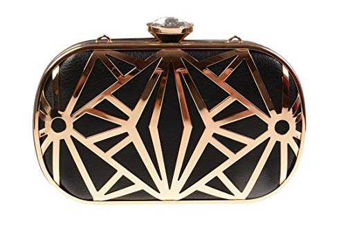 Kiss Gold (tm) Handbag Evening Bag Clutch Designer Hollow Metal Exquisite Leather (model-black)