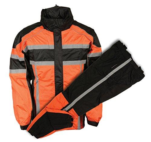MEN'S MOTORCYCLE MOTORBIKE 100% NYLON RAIN SUIT GEAR BLACK ORANGE DURABLE NEW (XS Regular)